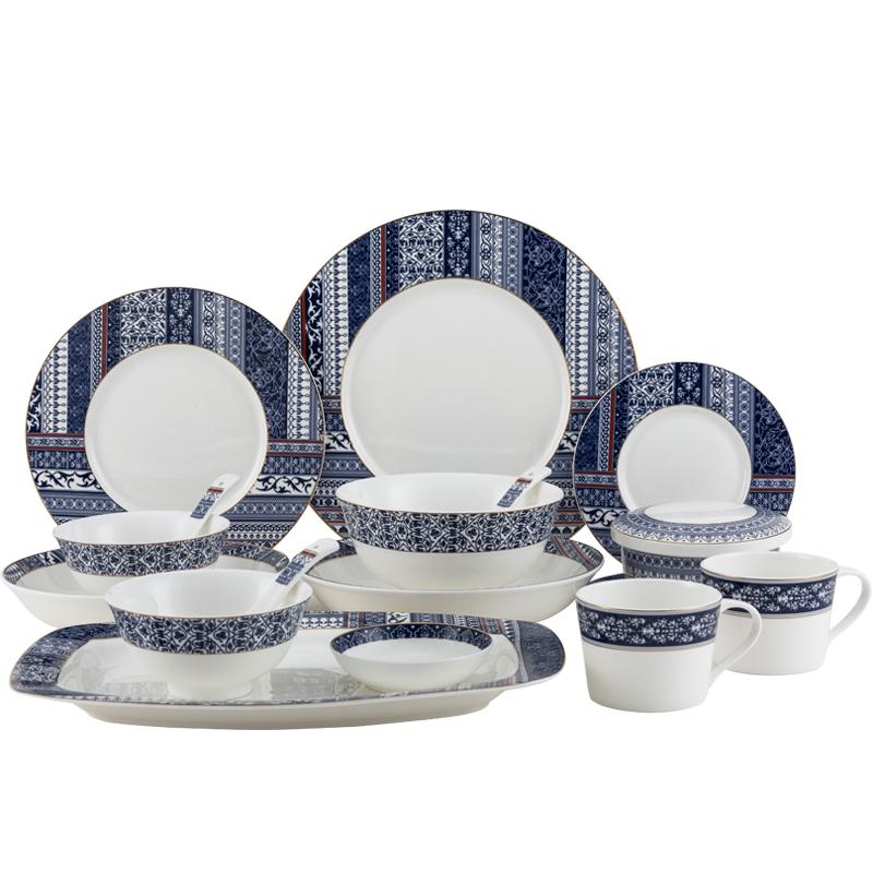 隆達骨瓷中式碗碟餐具家用 36頭創意陶瓷餐具套裝碗盤子組合素錦