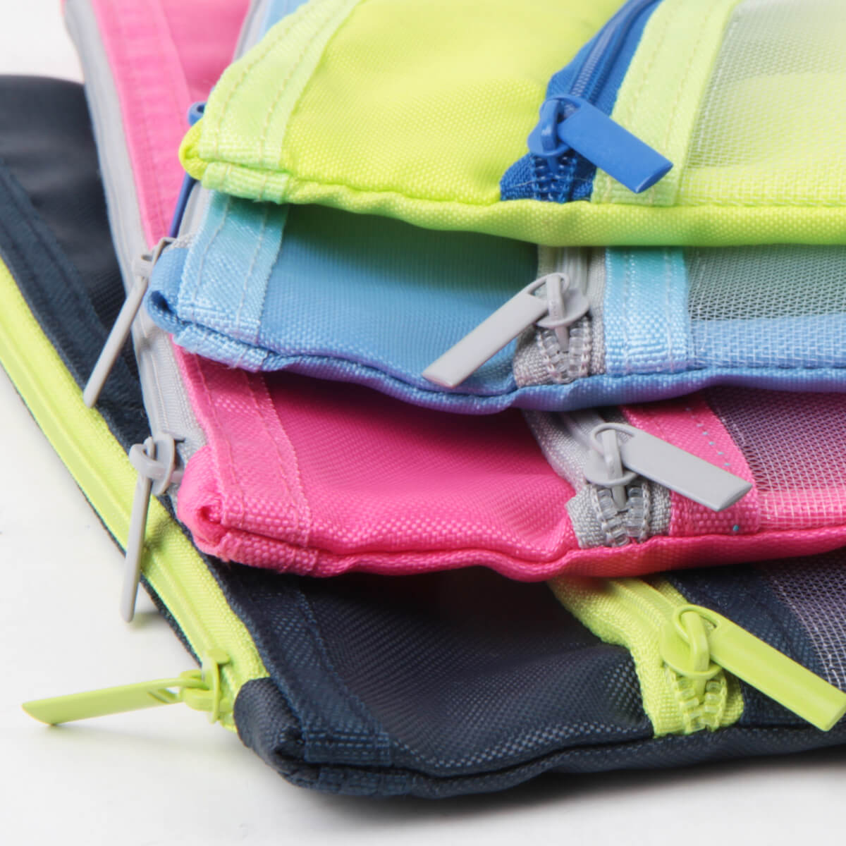得力5843彩色文件袋雙層收納袋文件袋網格收納A4/A5學生拉鏈袋