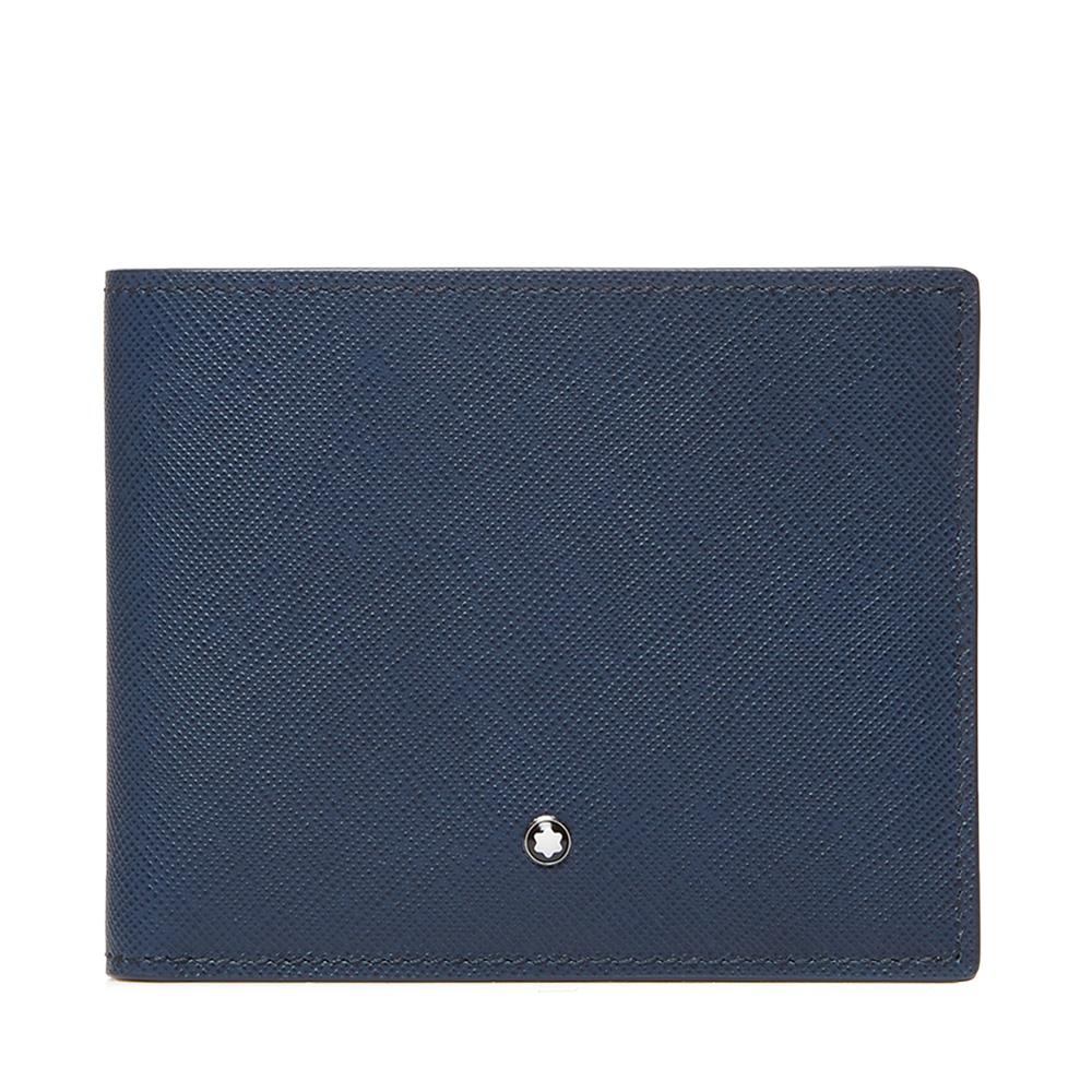 Montblanc/萬寶龍男士深藍色牛皮簡約翻折短款錢包