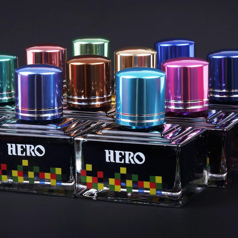 英雄彩色鋼筆墨水非碳素12色墨水染料型彩色鋼筆水40ML