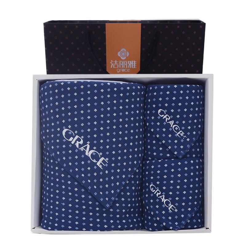 潔麗雅紗布浴巾三套裝 搭配精美禮盒舒適親膚吸水細格子條紋