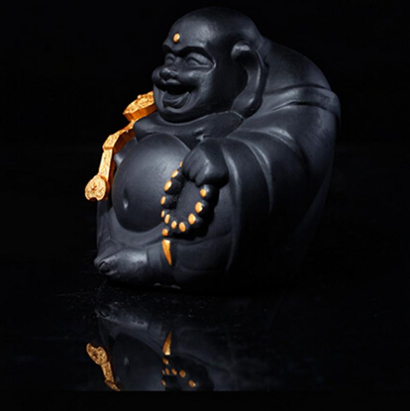 金烏炭雕 如意彌勒佛 汽車擺件飾品 車內炭雕保平安吉祥創意工藝品
