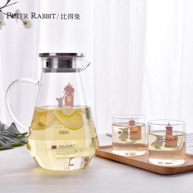 英國比得兔玻璃水壺耐熱涼水壺家用冷水壺耐高溫涼水杯涼茶壺套裝