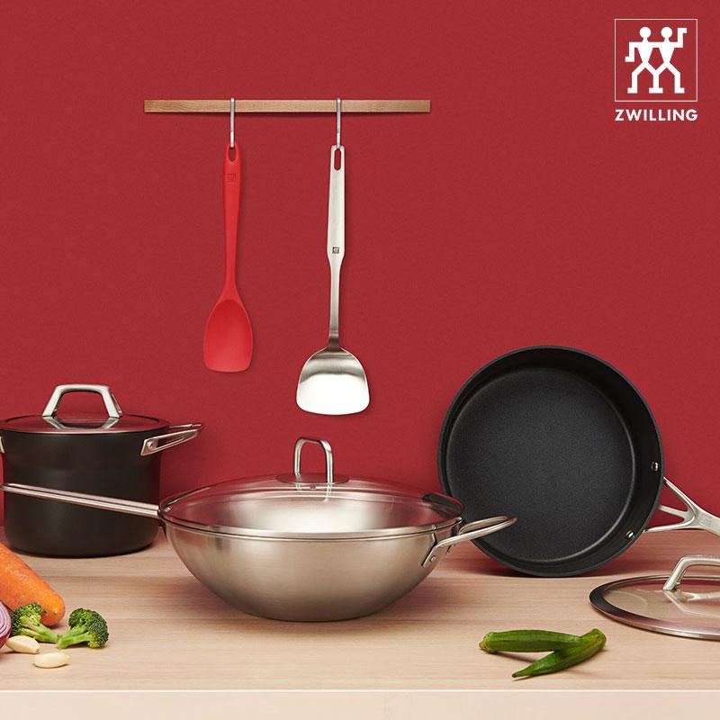德國雙立人中式炒鍋套裝家用不粘鍋湯鍋炒鍋平底鍋不銹鋼鍋具套裝