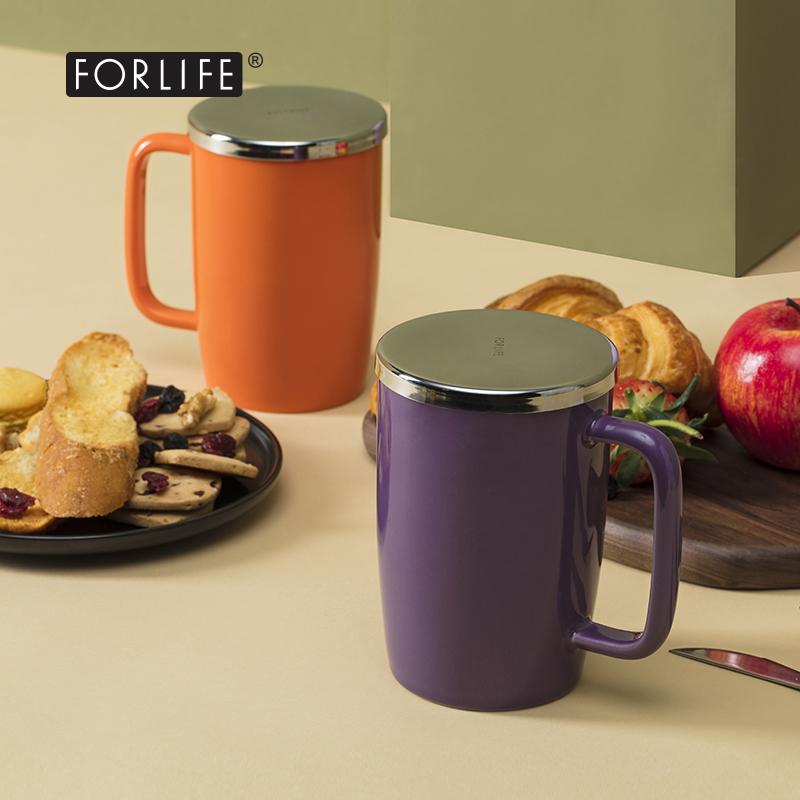 美國FORLIFE旗艦店露珠陶瓷茶杯 帶蓋帶過濾網 辦公泡茶彩色杯子