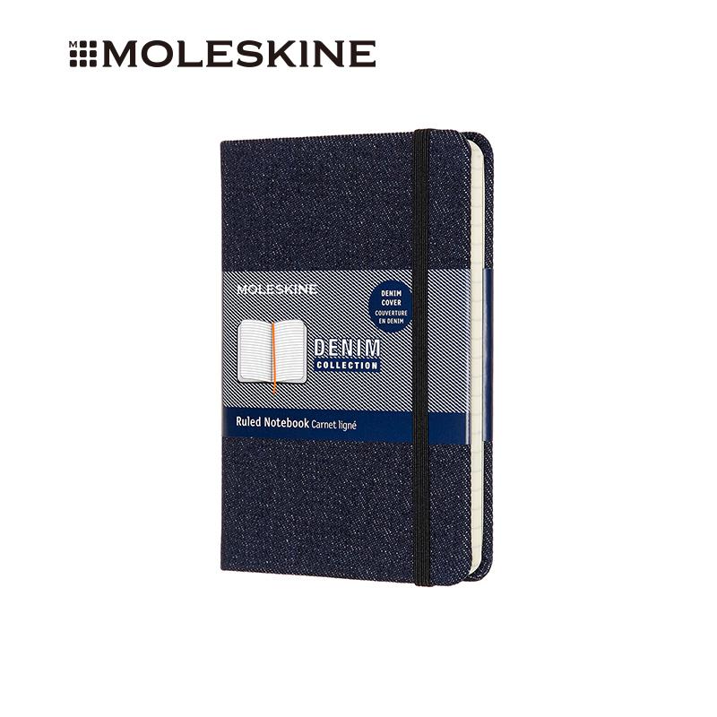 MOLESKINE 牛仔膠囊系列深牛仔布硬面橫間筆記本口袋型 6260