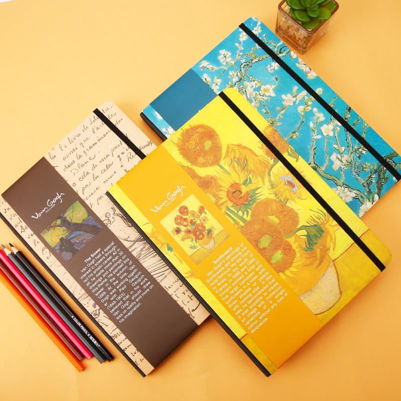 晨光文具學生硬抄本16K梵高空白包脊本精裝本筆記本128頁APYT7G50