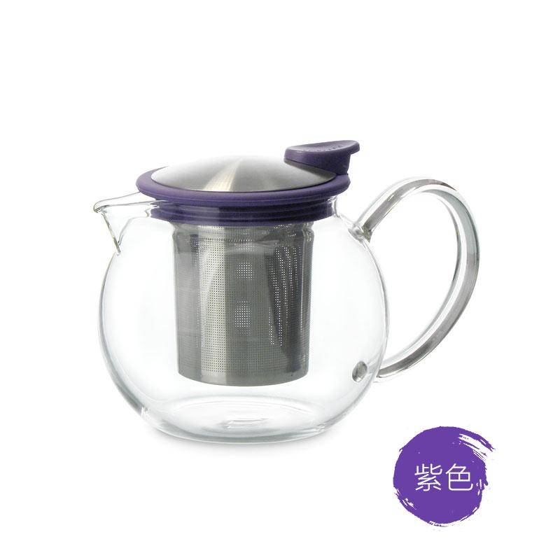 美國FORLIFE旗艦店色戒玻璃茶壺 耐熱家用彩色茶具 不掉蓋帶濾網