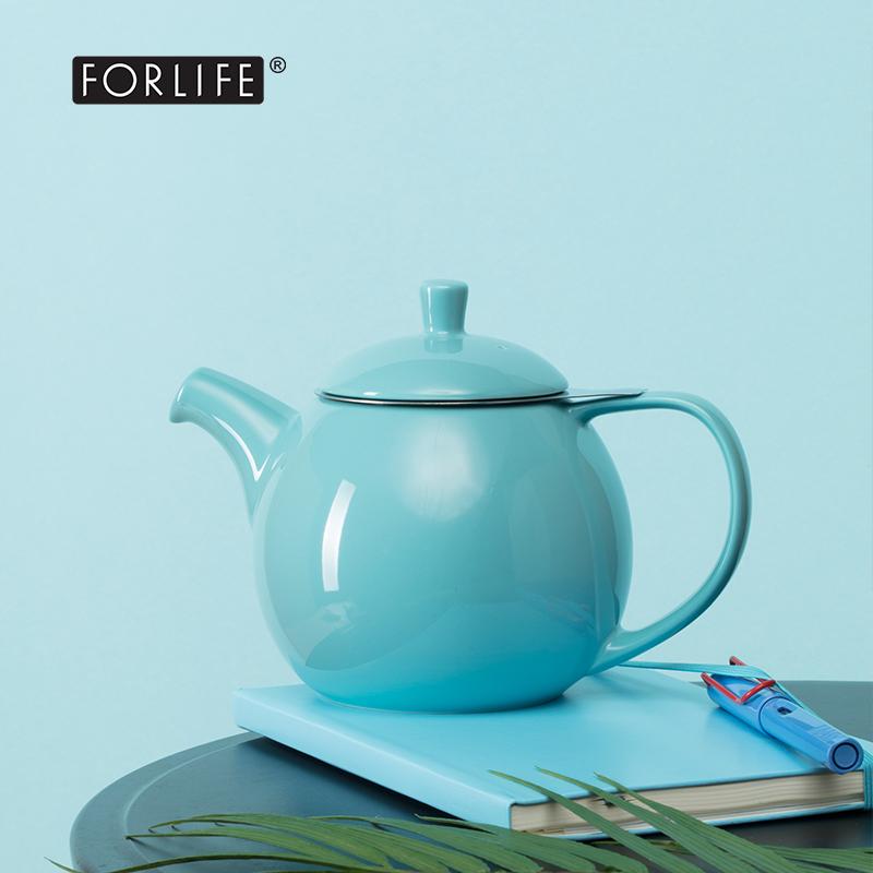 美國FORLIFE旗艦店優美線條陶瓷茶壺 帶濾網家用澳洲總理同款茶壺