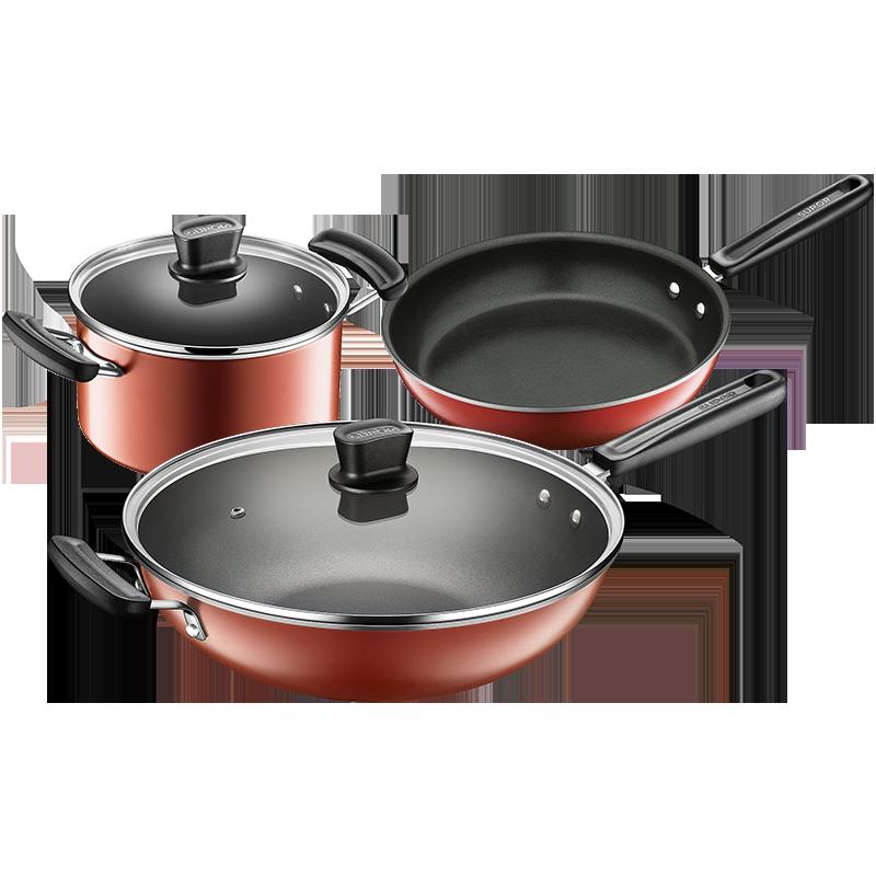 蘇泊爾鍋具套裝 不粘炒鍋湯鍋煎鍋三件套廚具電磁爐通用TP1628E