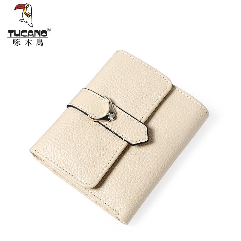 啄木鳥錢包女短款小清新折疊零錢包時尚女士搭扣錢夾個性簡約錢包
