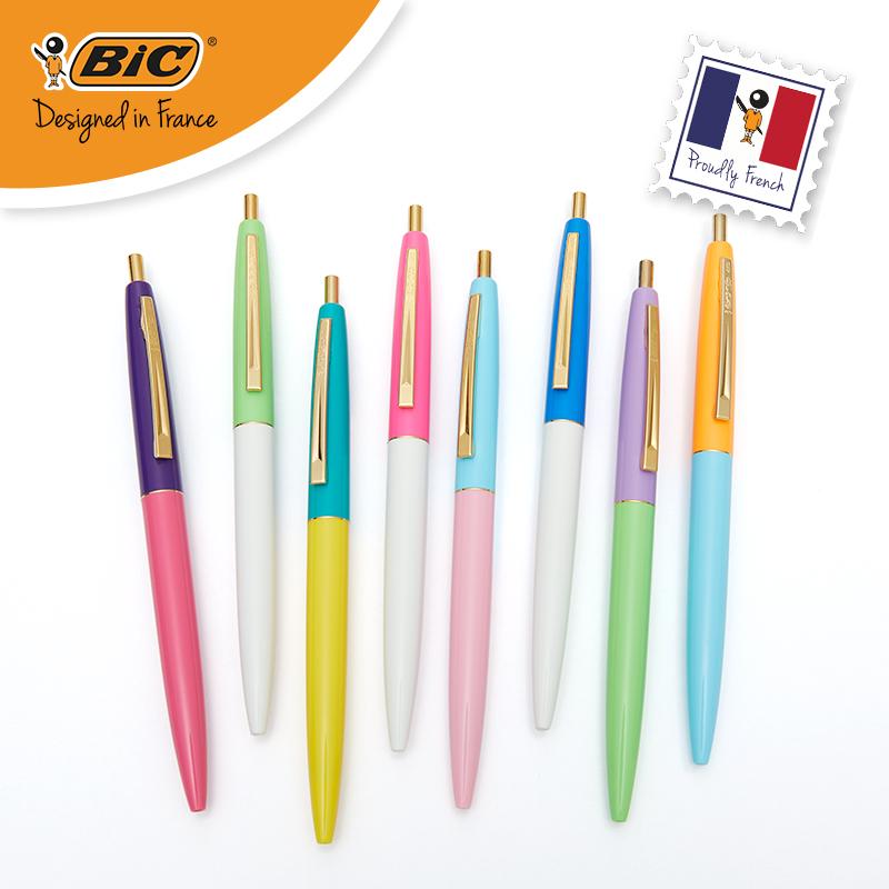 法國BIC比克Clic Gold圓珠筆創意多彩色廣告創意仙女筆學生用文具0.7mm商務辦公按動紅復寫原子筆penbeat專用