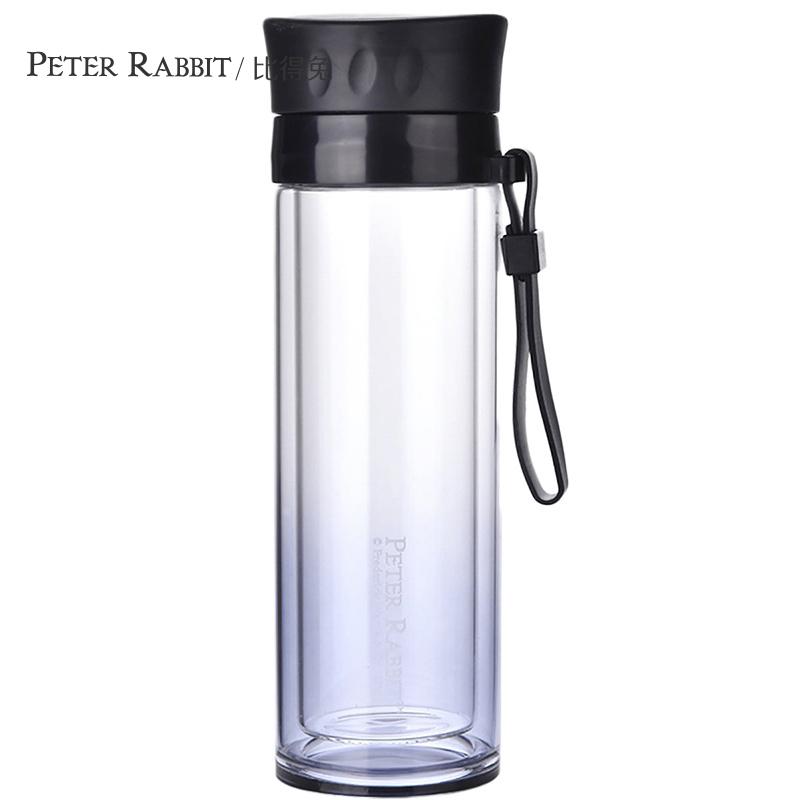 英國比得兔水杯星鉆水杯 雙層茶隔耐熱玻璃杯 便攜水瓶隨手帶提繩