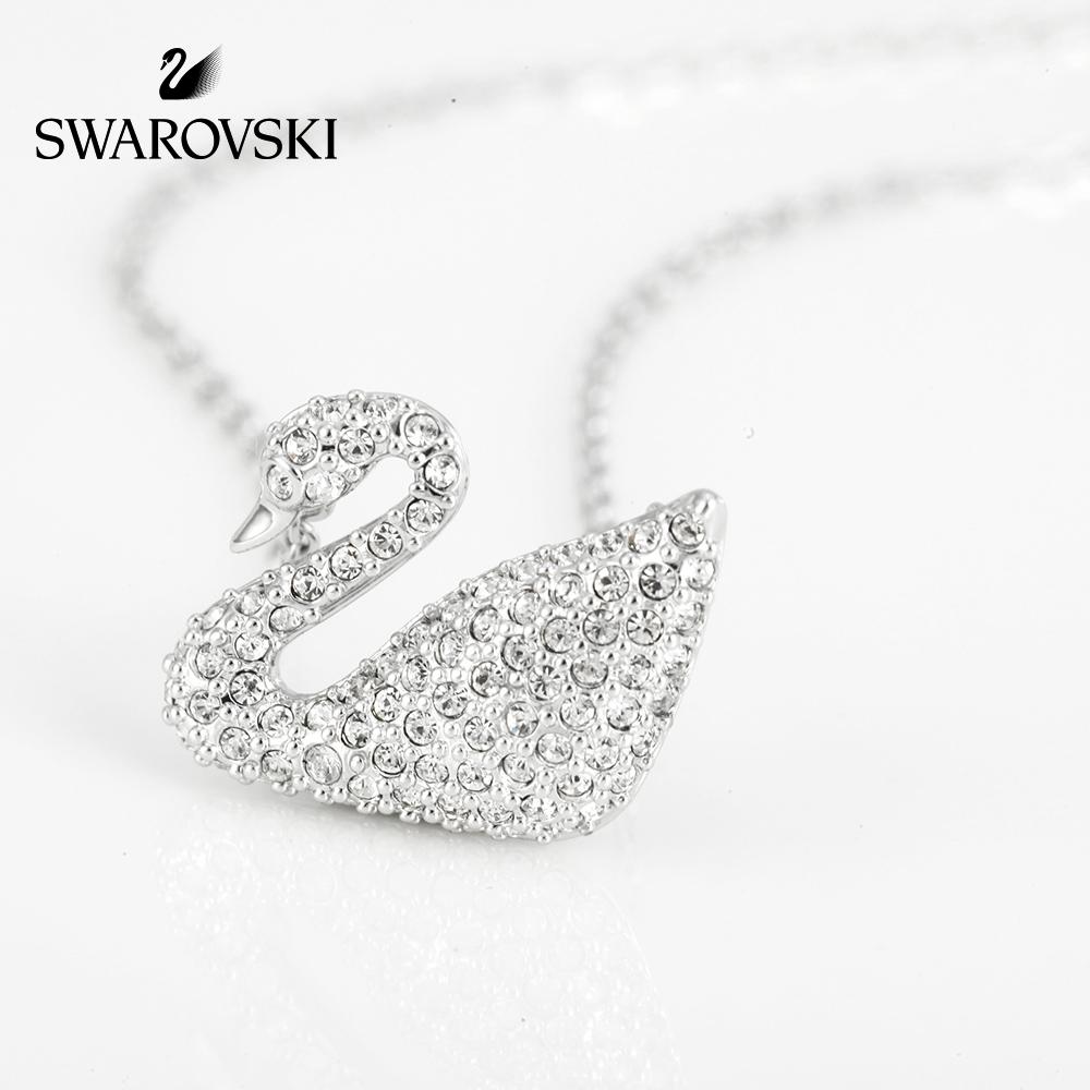 施華洛世奇SWAN天鵝吊墜裝飾項鏈女白金色鎖骨鏈項鏈 送女友禮物